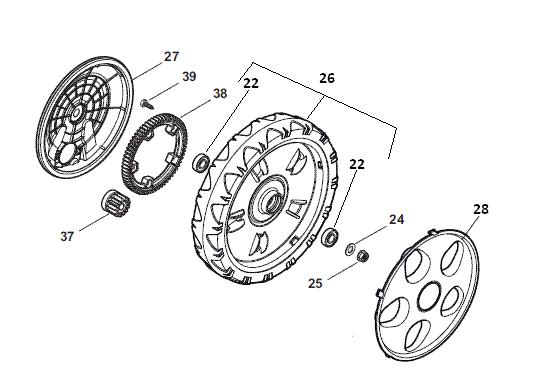 mountfield sp535 hw rear wheel    back wheel  280mm  inc