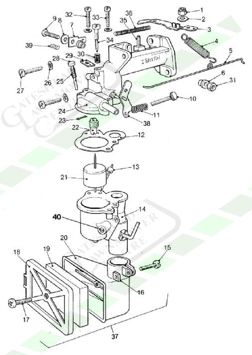 Atco Qualcast Zenith TCA-2 Carb Diagram Carburettor